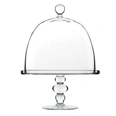 Подставка для торта, десерта с крышкой, D 28 см, H 37, стекло, ручная работа, Luigi Bormioli