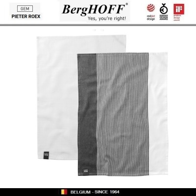 GEM Комплект кухонных полотенец, 2 шт 50 х 70 см, хлопок, серо-белые, BergHOFF