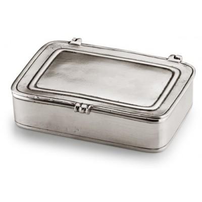 Шкатулка (коробок) с крышкой маленький (с окном для гравировки), L 9,5 см, W 6,5 см, олово, серия LAURUS, Cosi Tabellini